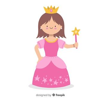 Ilustración princesa morena plana