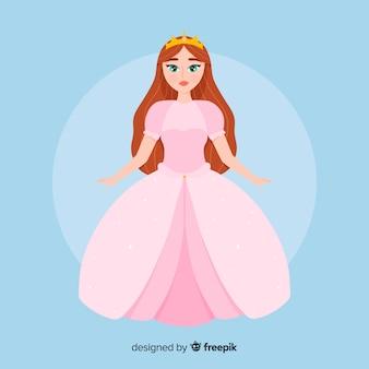 Ilustración princesa plana color pastel