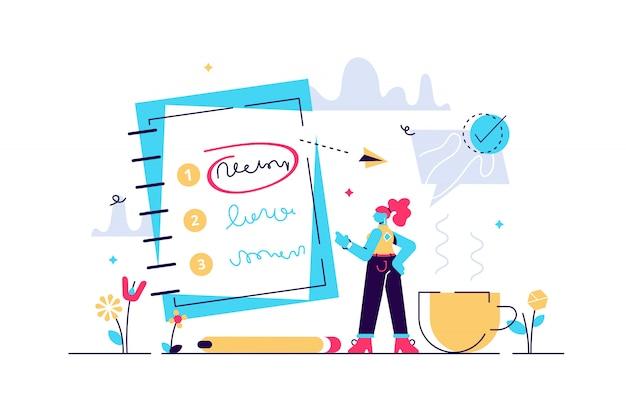 Ilustración de prioridades. importancia de agenda pequeña y plana para hacer la lista de personas concepto. planificación y gestión del trabajo para aumentar su eficiencia. lista de verificación con prioridad de objetivos y proceso de elección de urgencia