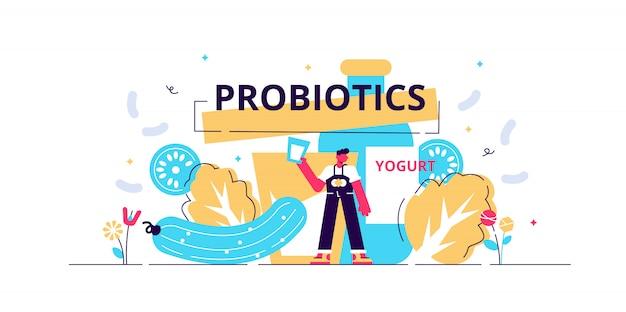Ilustración de probióticos. piso pequeño flora intestinal microorganismos personas concepto.