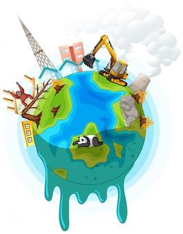 Ilustración con problema de calentamiento global