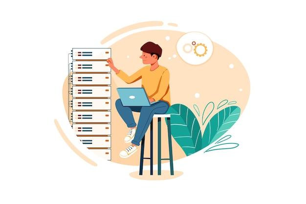 Ilustración de problema de servidor de reparación de empleado masculino