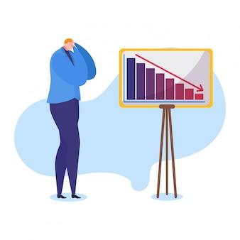 Ilustración de problemas de trabajo, empresario frustrado de dibujos animados tiene ganancias bajas, disminuye el gráfico de flecha, concepto de quiebra de la empresa