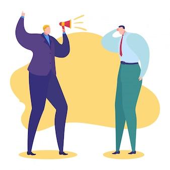 Ilustración de problemas de trabajo, personaje de jefe enojado de dibujos animados gritando en megáfono a empleado de hombre triste por mal trabajo en blanco