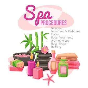 Ilustración de procedimientos de spa