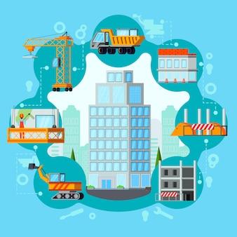 Ilustración del proceso de construcción de rascacielos