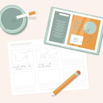 Ilustración del proceso del guión gráfico