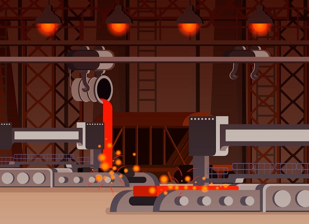 Ilustración de producción de acero