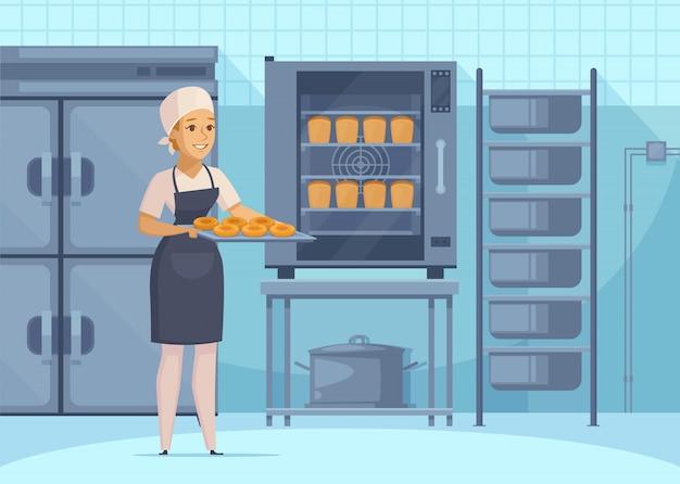 Ilustración de producción de panadería