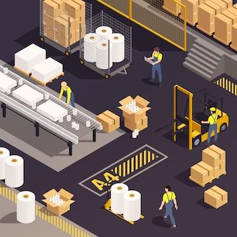 Ilustración de producción de papel isométrica