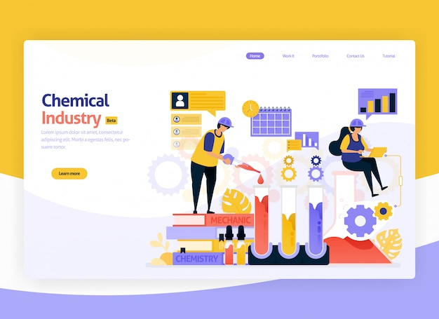 Ilustración de producción química industrial y fabricación de desarrollo