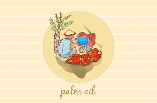 Ilustración de productores de palma aceitera