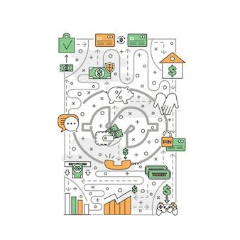 Ilustración de productos bancarios de línea delgada de vector