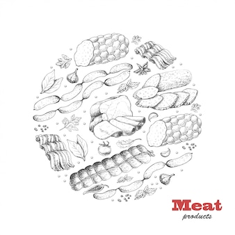 Ilustración de productos cárnicos