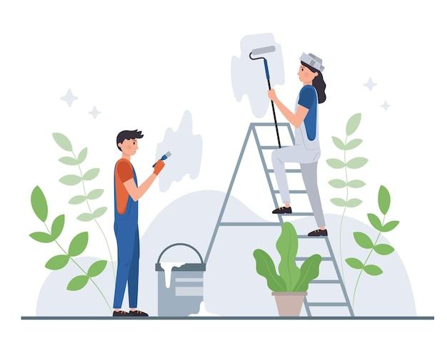 Ilustración de profesiones domésticas y de renovación.