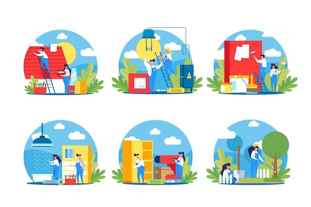 Ilustración de profesiones de hogar y renovación.