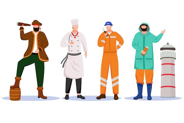Ilustración de profesiones marítimas. barco barato y farero. ocupación marina. pirata e ingeniero personajes de dibujos animados sobre fondo blanco.