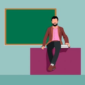 Ilustración del profesor masculino día mundial del profesor