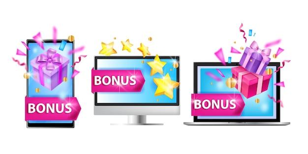 Ilustración del programa de fidelización concepto de recompensa de bonificación del cliente portátil