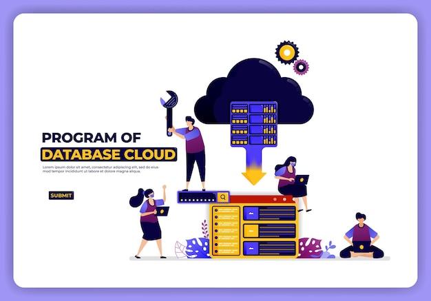 Ilustración del programa de la nube de base de datos. sistema de alojamiento y almacenamiento. diseñado para la página de destino