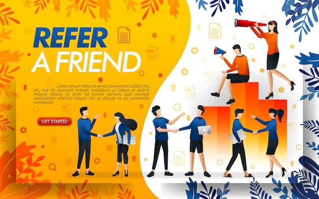 Ilustración de un programa de referencia con muchas personas dándose la mano.