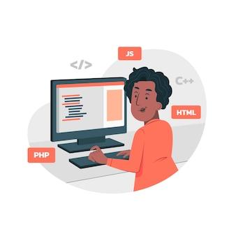 Ilustración de programación de computadora plana orgánica