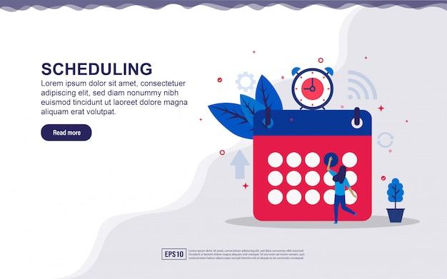Ilustración de la programación y gestión del tiempo con personas pequeñas. ilustración para la página de destino, contenido de redes sociales, publicidad.