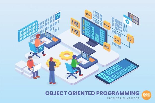 Ilustración de programación orientada a objetos isométricos