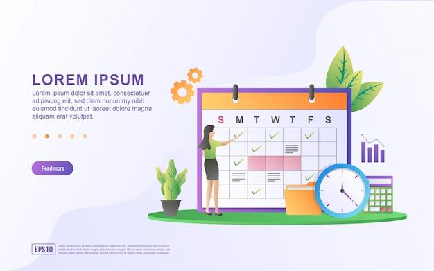 Ilustración de la programación y planificación con el calendario y el icono del tablero de agenda.