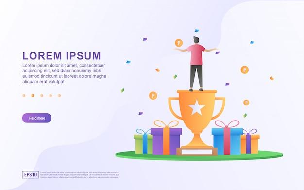Ilustración de programas de recompensas y tiendas en línea con caja de regalo e iconos de trofeos