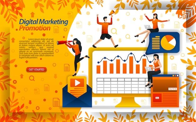 Ilustración de promoción de marketing digital con correo electrónico y video.