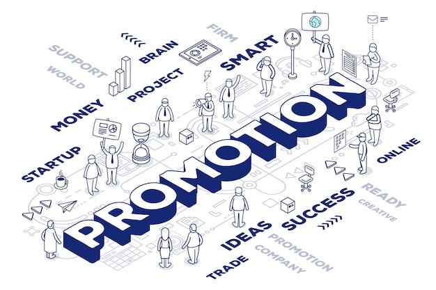 Ilustración de la promoción de la palabra tridimensional con personas y etiquetas sobre fondo blanco con esquema. concepto de tecnología promocional.