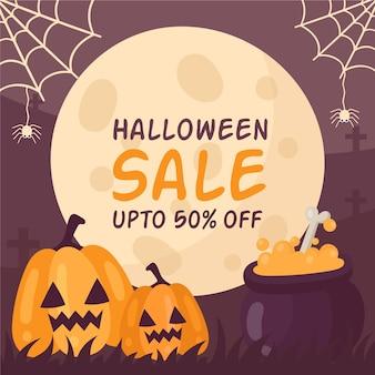 Ilustración promocional de venta de eventos de halloween