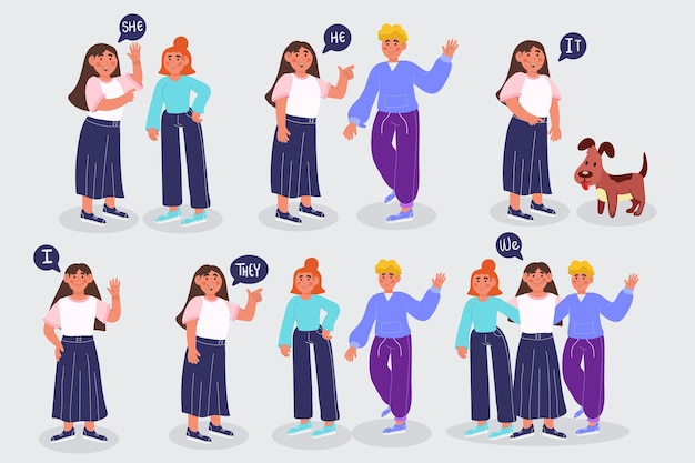 Ilustración de pronombres de sujeto en inglés