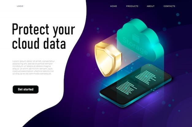 Ilustración de protección de datos en la nube, proteja su texto de datos en la nube. concepto de computación en la nube y protección de datos.