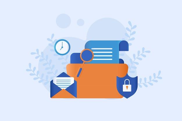 Ilustración de protección de datos plana