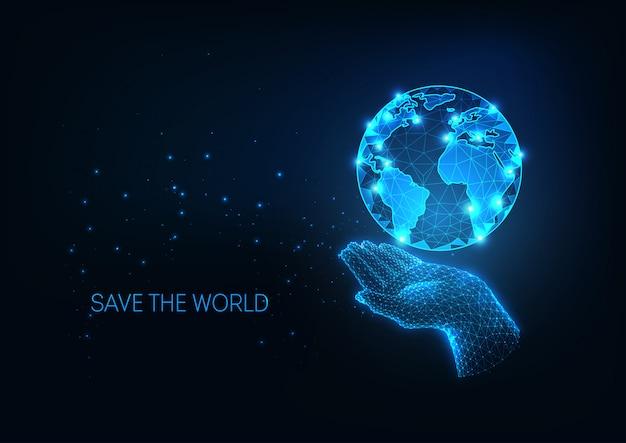 Ilustración de protección futurista con mano poligonal brillante que sostiene el planeta tierra