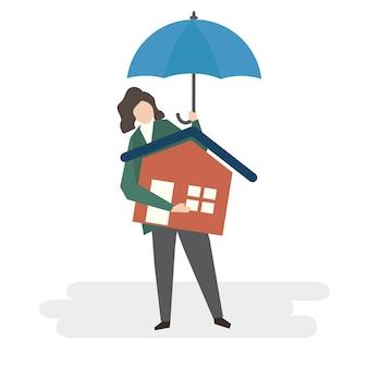 Ilustración de la protección del seguro del hogar.