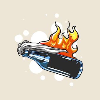 Ilustración de protesta de bomba molotov