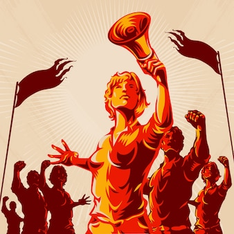 Ilustración de protesta de multitud de plomo de mujeres