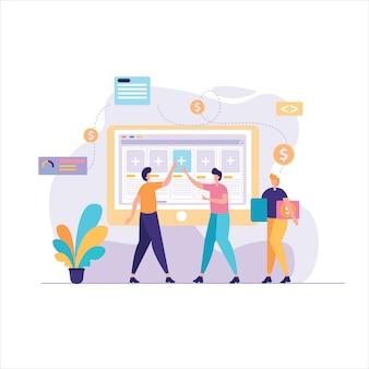 Ilustración de proyecto de negocio de construcción