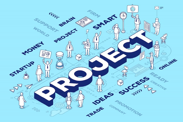 Ilustración del proyecto de palabra tridimensional con personas y etiquetas sobre fondo azul con esquema.