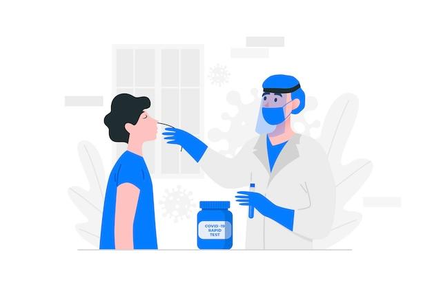 Ilustración de prueba de hisopo nasal