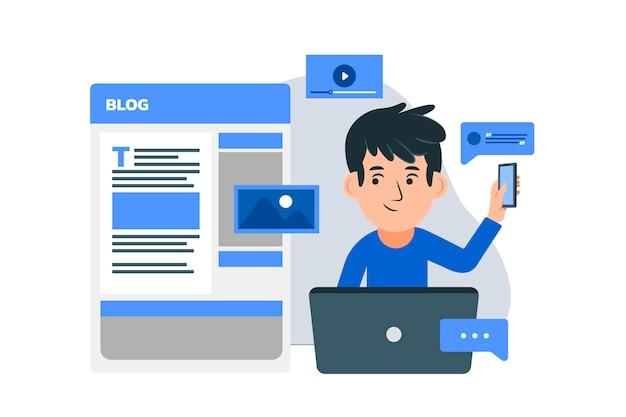 Ilustración de publicación de blog plana orgánica con personas