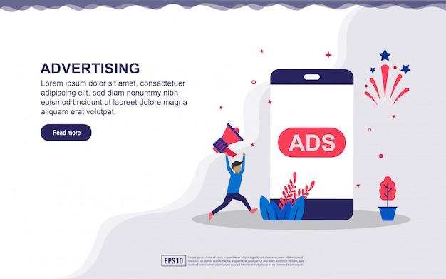 Ilustración de publicidad y marketing con icono de personaje, megáfono y teléfono inteligente