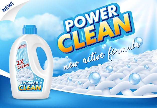 Ilustración publicitaria de detergente líquido o gel para ropa