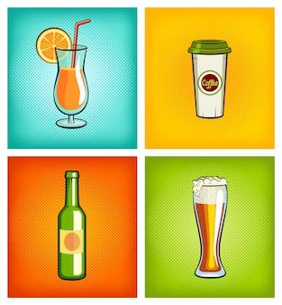 Ilustración publicitaria de diferentes bebidas.