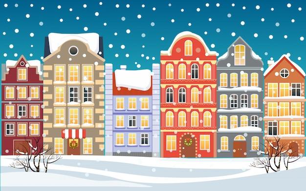 Ilustración de pueblo de dibujos animados de navidad