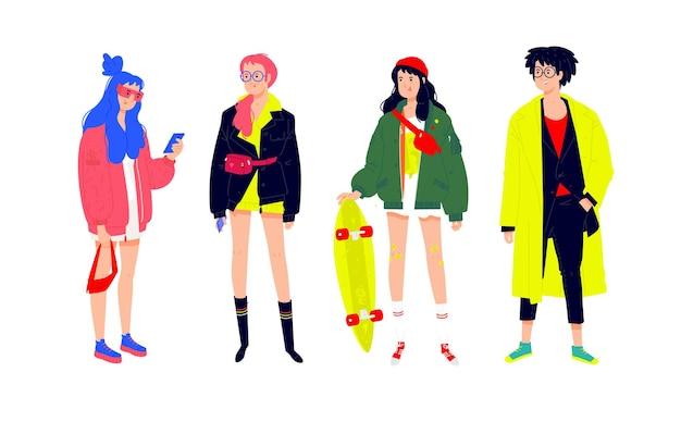 Ilustración de un pueblo joven de moda. niñas y niños con ropa moderna de moda.