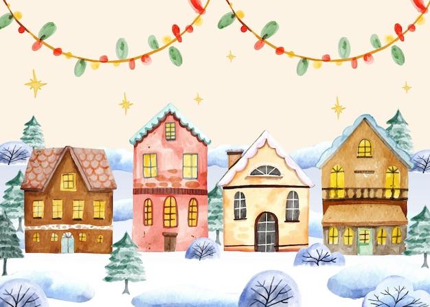 Ilustración de pueblo de navidad en acuarela